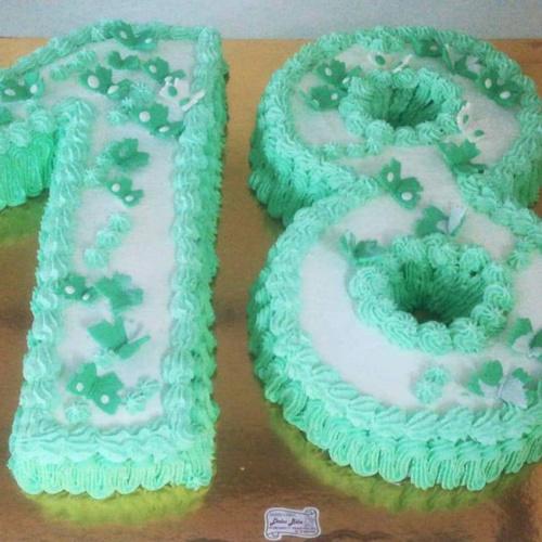 torta compleanno numero 18 con panna e crema al cioccolato
